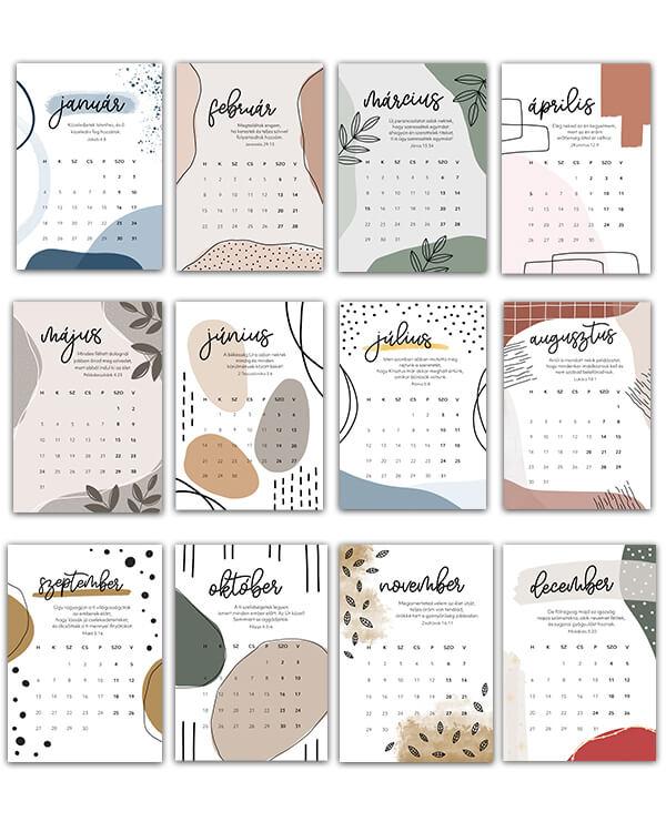 keresztyén Naptár, falinaptár, papír, lapozós naptár, saját grafikával, Bibliai igékkel, Csendesedo Falinaptar 2021