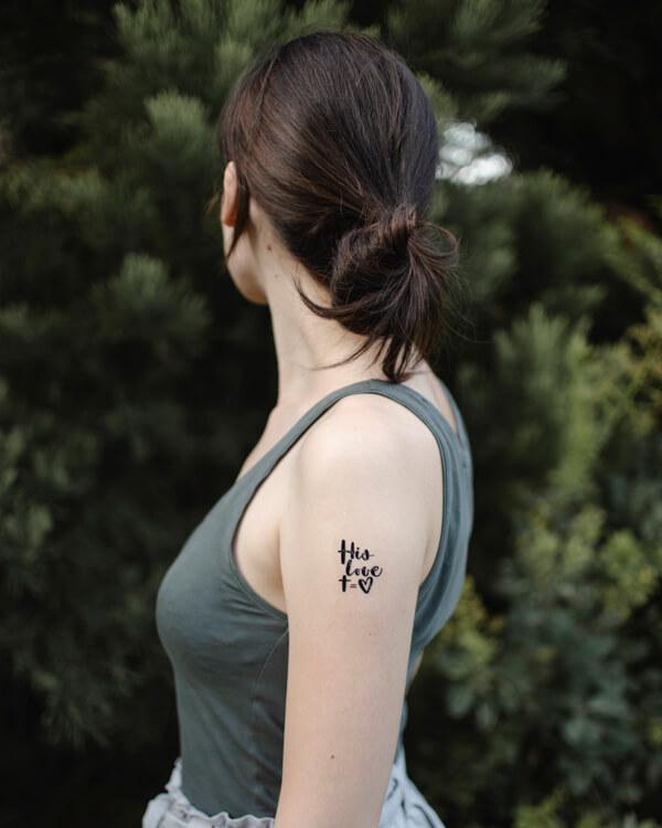 lemosható tattoo tetkó keresztény kis love, Isten szeret, kereszt, szív